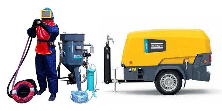 Compressor Atlas Copco XAS 58 Kd and COMPLETE soda blasting package 100L